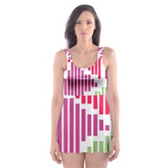 Vertical Stripes    Skater Dress Swimsuit