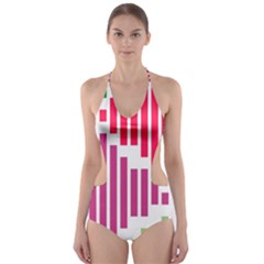 Vertical stripes    Cut-Out One Piece Swimsuit