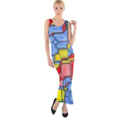 3d shapes Fitted Maxi Dress