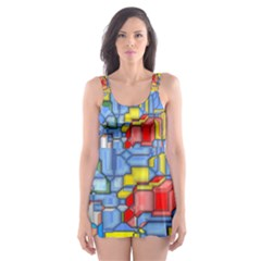 3d shapes Skater Dress Swimsuit