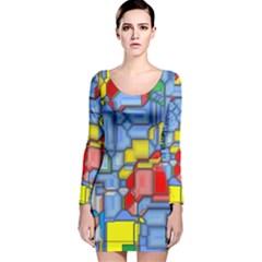 3d shapes Long Sleeve Velvet Bodycon Dress