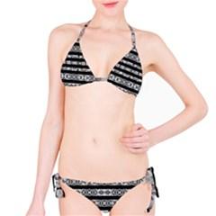 Alien Stripes Print Bikini Set