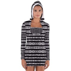 Alien Stripes Print Women s Long Sleeve Hooded T Shirt