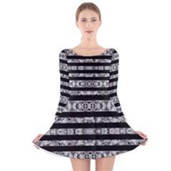Alien Stripes Print Long Sleeve Velvet Skater Dress