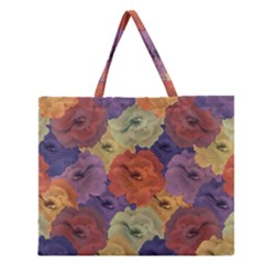 Vintage Floral Collage Pattern Zipper Large Tote Bag