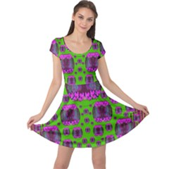 Ladies Looking At Beauty And Love Cap Sleeve Dresses