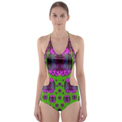 Ladies Looking At Beauty And Love Cut-Out One Piece Swimsuit