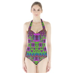 Ladies Looking At Beauty And Love Women s Halter One Piece Swimsuit