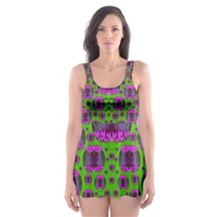Ladies Looking At Beauty And Love Skater Dress Swimsuit