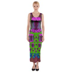 Ladies Looking At Beauty And Love Fitted Maxi Dress