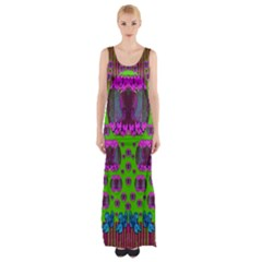 Ladies Looking At Beauty And Love Maxi Thigh Split Dress