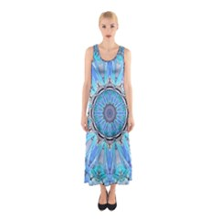 Sapphire Ice Flame, Light Bright Crystal Wheel Full Print Maxi Dress