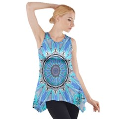Sapphire Ice Flame, Light Bright Crystal Wheel Side Drop Tank Tunic