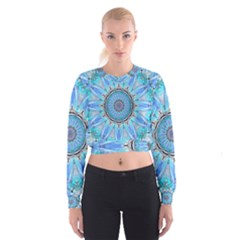Sapphire Ice Flame, Light Bright Crystal Wheel Women s Cropped Sweatshirt