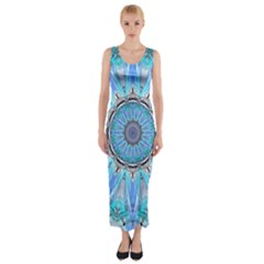 Sapphire Ice Flame, Light Bright Crystal Wheel Fitted Maxi Dress