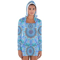 Sapphire Ice Flame, Light Bright Crystal Wheel Women s Long Sleeve Hooded T-shirt