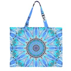 Sapphire Ice Flame, Light Bright Crystal Wheel Large Tote Bag