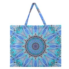 Sapphire Ice Flame, Light Bright Crystal Wheel Zipper Large Tote Bag