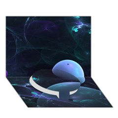 The Music Of My Goddess, Abstract Cyan Mystery Planet Circle Bottom 3d Greeting Card (7x5)