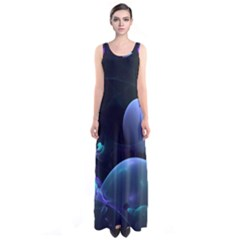 The Music Of My Goddess, Abstract Cyan Mystery Planet Full Print Maxi Dress