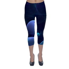The Music Of My Goddess, Abstract Cyan Mystery Planet Capri Winter Leggings
