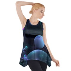 The Music Of My Goddess, Abstract Cyan Mystery Planet Side Drop Tank Tunic