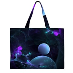 The Music Of My Goddess, Abstract Cyan Mystery Planet Zipper Large Tote Bag