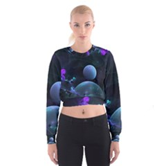 The Music Of My Goddess, Abstract Cyan Mystery Planet Women s Cropped Sweatshirt