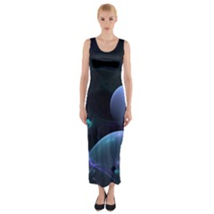 The Music Of My Goddess, Abstract Cyan Mystery Planet Fitted Maxi Dress