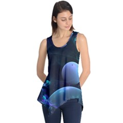 The Music Of My Goddess, Abstract Cyan Mystery Planet Sleeveless Tunic