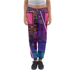 Jewel City, Radiant Rainbow Abstract Urban Women s Jogger Sweatpants