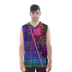 Jewel City, Radiant Rainbow Abstract Urban Men s Basketball Tank Top