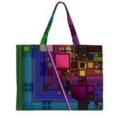 Jewel City, Radiant Rainbow Abstract Urban Zipper Large Tote Bag