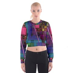 Jewel City, Radiant Rainbow Abstract Urban Women s Cropped Sweatshirt