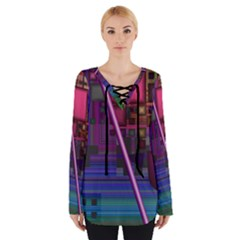 Jewel City, Radiant Rainbow Abstract Urban Women s Tie Up Tee