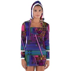 Jewel City, Radiant Rainbow Abstract Urban Women s Long Sleeve Hooded T-shirt