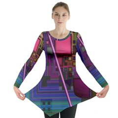 Jewel City, Radiant Rainbow Abstract Urban Long Sleeve Tunic