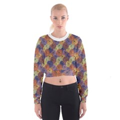 Vintage Floral Collage Print Women s Cropped Sweatshirt
