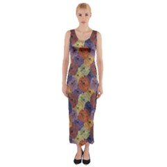 Vintage Floral Collage Print Fitted Maxi Dress