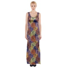 Vintage Floral Collage Print Maxi Thigh Split Dress