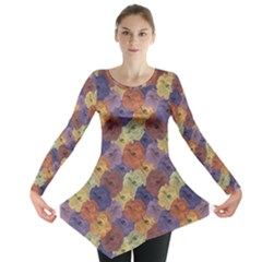 Vintage Floral Collage Print Long Sleeve Tunic