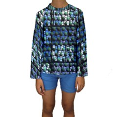 Looking Out At Night, Abstract Venture Adventure (venture Night Ii) Kid s Long Sleeve Swimwear