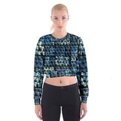 Looking Out At Night, Abstract Venture Adventure (venture Night Ii) Women s Cropped Sweatshirt