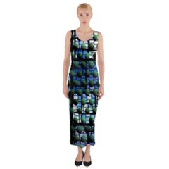 Looking Out At Night, Abstract Venture Adventure (venture Night Ii) Fitted Maxi Dress