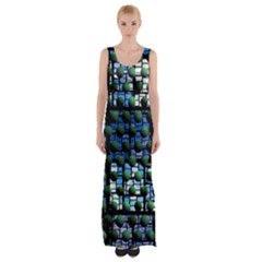 Looking Out At Night, Abstract Venture Adventure (venture Night Ii) Maxi Thigh Split Dress