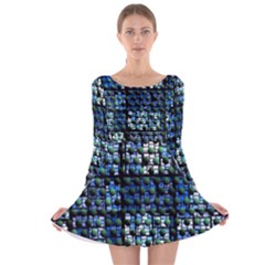 Looking Out At Night, Abstract Venture Adventure (venture Night Ii) Long Sleeve Velvet Skater Dress