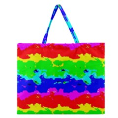 Colorful Digital Abstract  Zipper Large Tote Bag