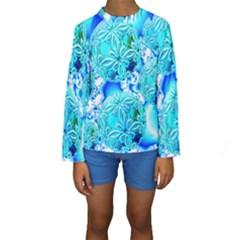 Blue Ice Crystals, Abstract Aqua Azure Cyan Kid s Long Sleeve Swimwear