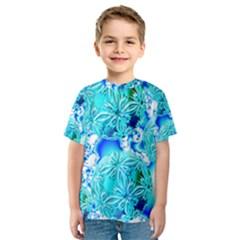 Blue Ice Crystals, Abstract Aqua Azure Cyan Kid s Sport Mesh Tee
