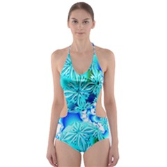 Blue Ice Crystals, Abstract Aqua Azure Cyan Cut-Out One Piece Swimsuit